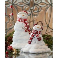 Set of 2 Red and White Melting Snowman Christmas Tabletop Figures 12""
