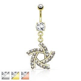 Windmill w/ Paved CZ Dangle Navel Ring (Sold Individually)