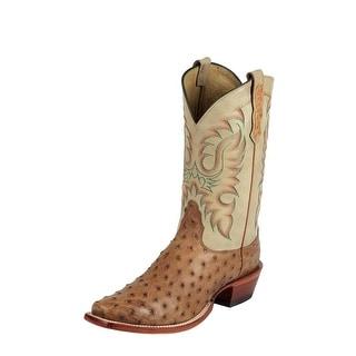 Nocona Western Boot Men Cowboy Leather Waxy Full Ostrich Cognac MD6512