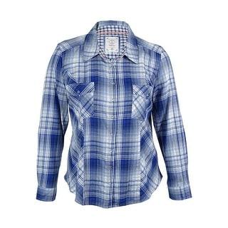 Style & Co. Women's Tab Sleeve Plaid Shirt - xL