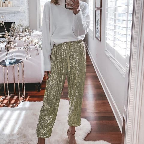 Women's Loose Sequined Drawstring High Waist Girdle Casual Pants