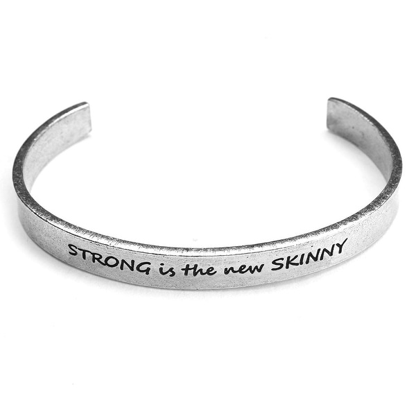 Women's Note To Self Inspirational Lead-Free Pewter Cuff Bracelet - Strong New Skin - Silver