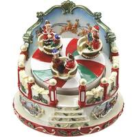"5"" Animated Christmas Ride Figurine Winter Scene Rotating Music Box"