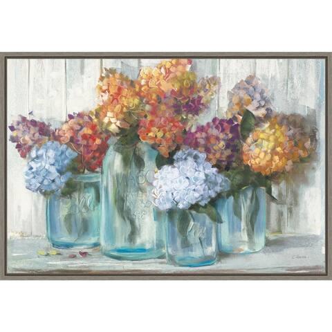Canvas Art Framed 'Fall Hydrangeas in Glass Jar Crop' by Carol Rowan 23 x 16-inch