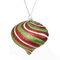 "3.5"" Merry & Bright Red, White and Green Glitter Swirl Shatterproof Christmas Onion Ornament"