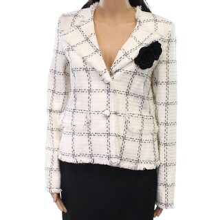 Karl Lagerfeld NEW White Womens Size 10 Frayed Trim Two- Button Blazer