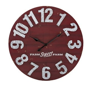 "IMAX Home 16312  36"" Diameter Berry Patch Analog Wall Clock by Trisha Yearwood - Red"