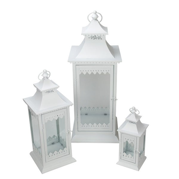 "Set of 3 White Cottage Style Glass Pillar Candle Lanterns with Decorative Edges 11.5"" - 27.25"""