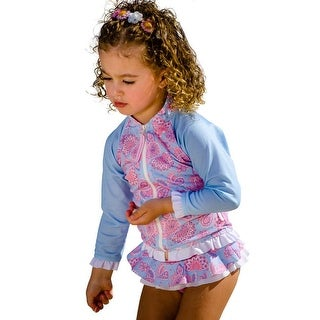 Sun Emporium Baby Girls Sky Blue Pink Siena Print Zip Jacket Nappy Set