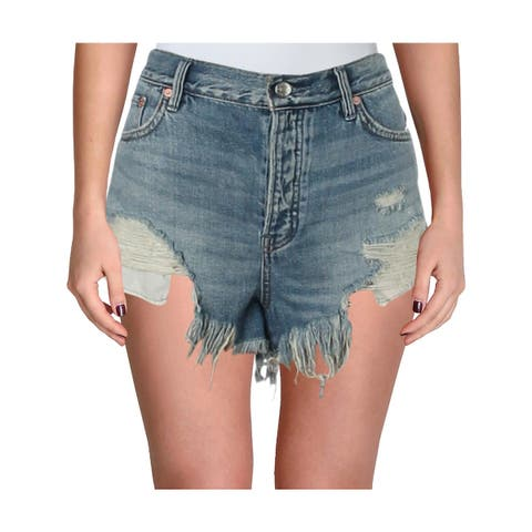 We The Free Womens Loving Good Vibrations Cutoff Shorts Destroyed Denim
