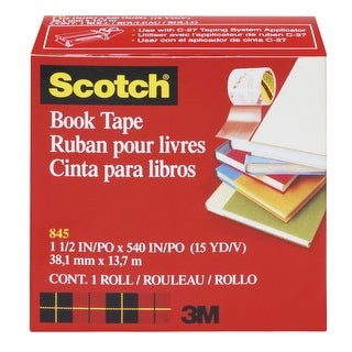 Scotch 845 Book Tape, 1.50 Inches x 15 Yards, 3 Inch Core, Crystal Clear