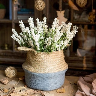 """G Home Collection Rustic Artificial Eco PE Lavender Stem in White 18"""" Tall (Set of 5)"""