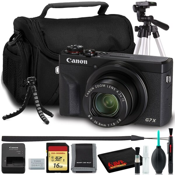 Canon PowerShot G7X Mark III Digital Camera (Black) with Tripods, Bag,. Opens flyout.