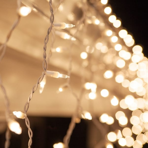 """Wintergreen Lighting 17593 Mini Icicle Lights with 3.5"""" Spacing and White Wire - CLEAR - N/A"""