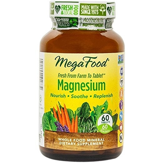 MegaFood Magnesium - 60 Tablets | Nourish | Soothe | Replenish | Heart and Nervous System Support | Muscle Relaxtion