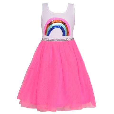 Little Girls Fuchsia Multi Color Rainbow Sequin Applique Casual Dress