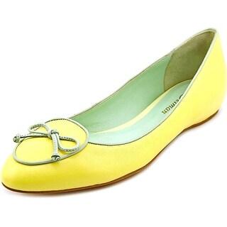 Delman Charm Women Round Toe Leather Yellow Flats