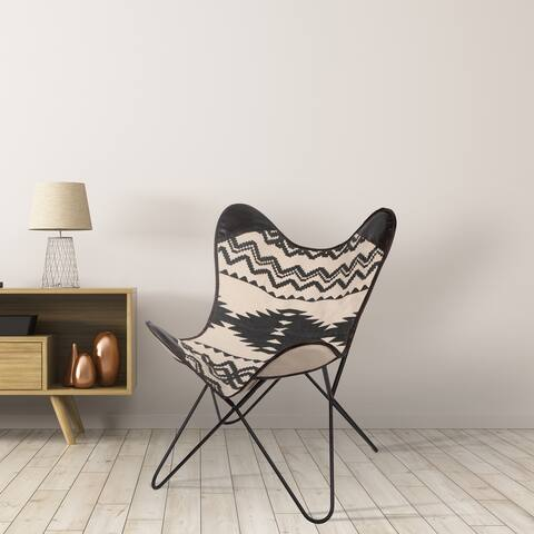 Spitiko Homes Handmade Canvas Butterfly Chair with genuine leather Ikat - 29'X29'X33'