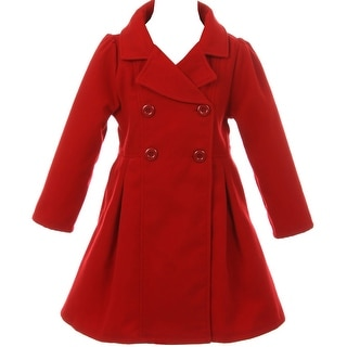 Flower Girls Winter Clothes Long Coat Outerwear Red
