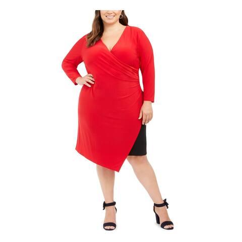 TOMMY HILFIGER Red Long Sleeve Knee Length Sheath Dress Size 16W