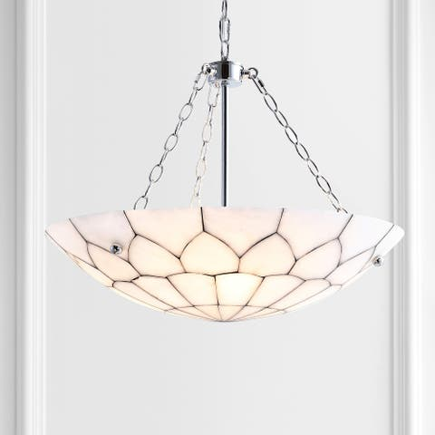 """Bailey 23.5"""" Adjustable Marble LED Pendant, White by JONATHAN Y"""