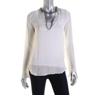 Zara Womens Silk Beaded Blouse