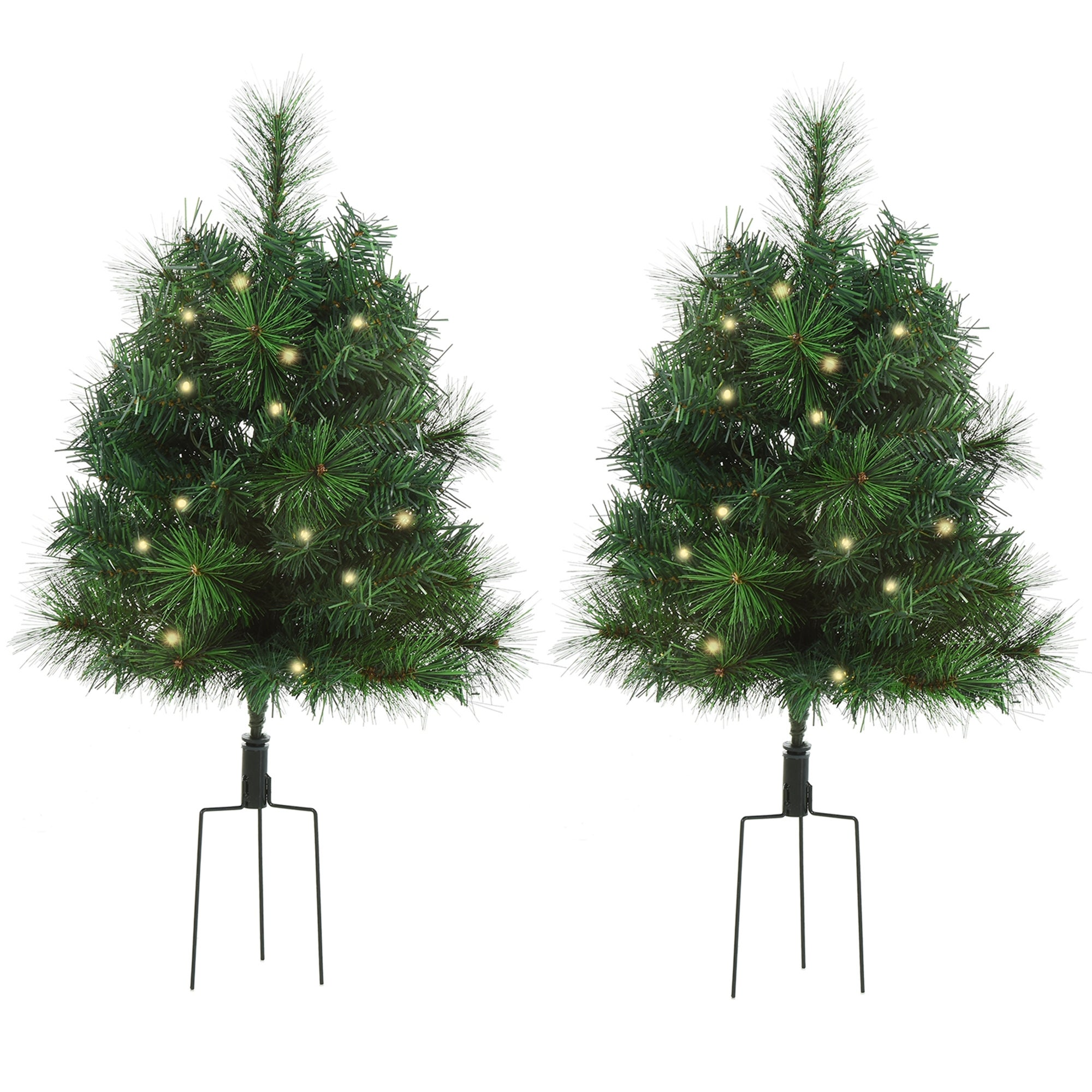Homcom 2 Piece Artificial Pine Tree Warm White Light Pre Lit Holiday Home Christmas Cordless Decoration With Stakes Overstock 32332626
