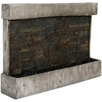 Sunnydaze Ancient Wall-Mounted Outdoor Modern Waterfall Fountain - 24-Inch