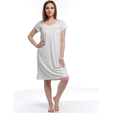 Body Touch Women's Classic Short Sleeve Nightgown - White/Grey