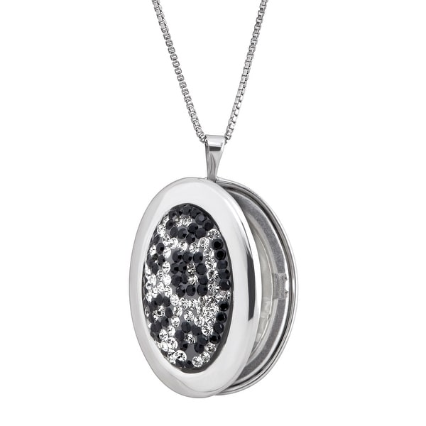Crystaluxe Leopard Print Locket Pendant with Swarovski Crystals in Sterling Silver - White