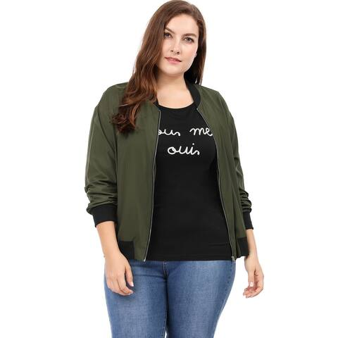 Allegra K Women's Plus Size Zipper Pocket Contrast Trim Lightweight Bomber Jacket