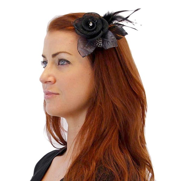 It Girl Sinamay Style Hair Clip or Pin with Feathers