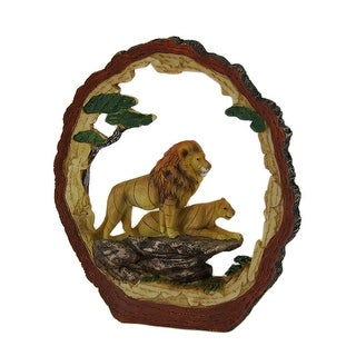 Tree Trunk Vistas Lion Safari Decorative Carving - Yellow