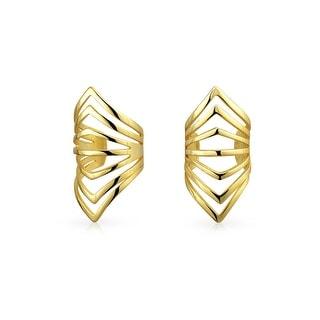 Bling Jewelry Gold Plated Silver Modern Chevron Geometric Ear Cuffs Wrap