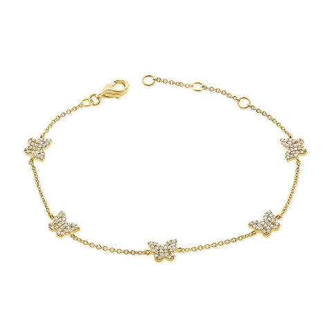 Joelle Diamond Pave Station Butterfly Bracelet 2/5 ct. TDW 14k Gold Gifts for Her