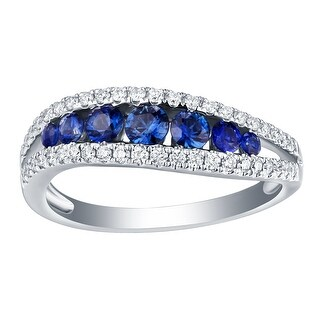 Prism Jewel 0.93CT SI2 Blue Sapphire Gemstone with G-H/I1 Natural Diamond Twisted Band