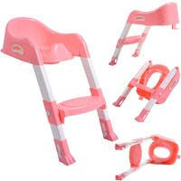 Costway Kid Training Toilet Potty Trainer Seat Chair Toddler W/Ladder Step Up Stool Pink