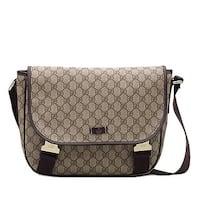 8d932374d Shop Gucci Men's Hilary Lux Dark Brown Diamante Leather Messenger ...
