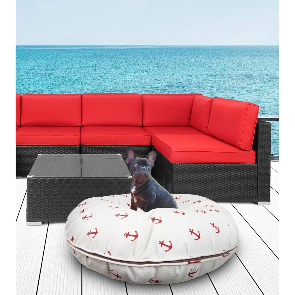 Bessie And Barniebessie And Barnie Water Resistant Red Anchor Outdoor Durable Bagel Pet Dog Bed Md 36 Dailymail