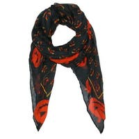 David & Young Women's Pumpkin Print Halloween Holiday Scarf - One size