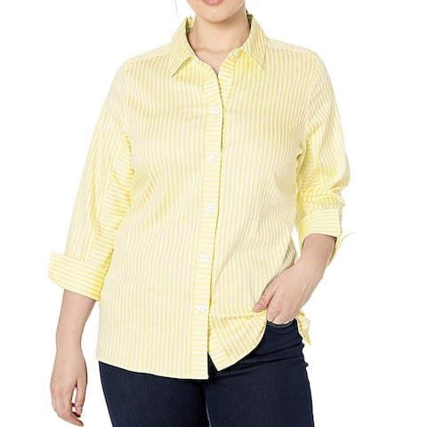 Foxcroft Womens Top White Yellow Size 4 Button Down Striped French Cuff
