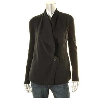Vince Womens Open Front Ribbed Sleeves One-Button Blazer - 4