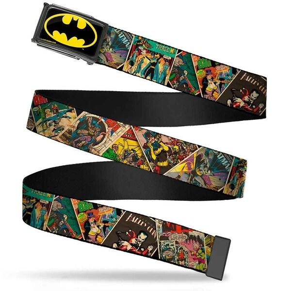Batman Fcg Black Yellow Chrome Retro Batman Comic Books Stacked Web Belt