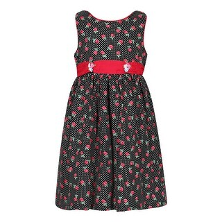 Richie House Girls' Cotton Rose Dress