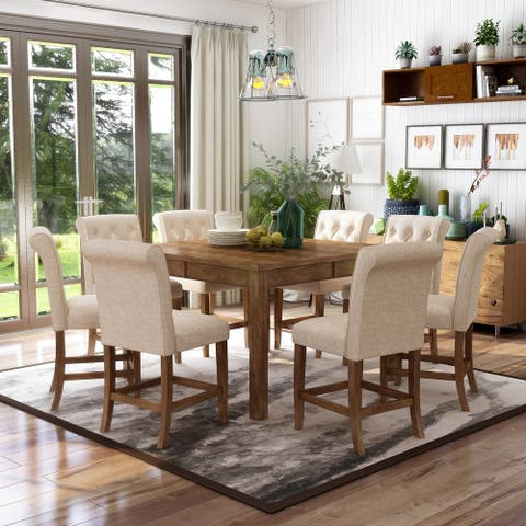 Furniture of America Fons Rustic Oak Solid Wood 9-piece Dining Set
