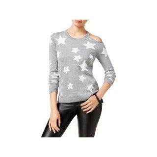 Oh!MG Womens Juniors Stars Pullover Sweater Metallic Graphic - M