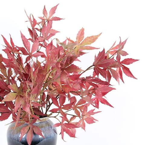 "FloralGoods Artificial Red Maple Leaf Stem 29"" Tall"