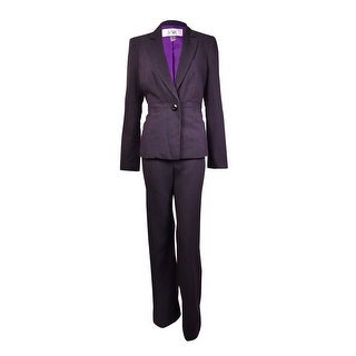 Le Suit Women's Monte Carlo Pinstriped 1-Button Pant Suit (8, Black Multi) - 8