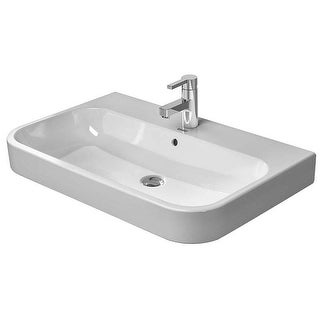 "Duravit 2318800000 Happy D.2 Ceramic 31-1/2"" Bathroom Sink for Vanity, Wall Mounted or Console Installations with Single Faucet"