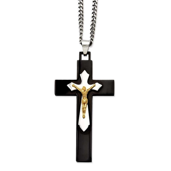 Stainless Steel IP Black-plated & Gold-plated Crucifix Pendant 24in Necklac (3 mm) - 24 in